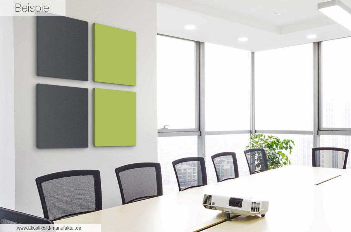 Akustik Panels Granit Grey und Hallo Frühling, jeweils im Format 60 x 60 x 4 cm cm