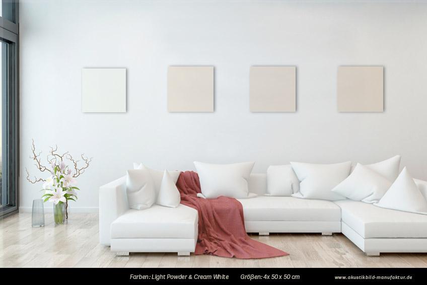 Akustikbilder mit großem Abstand gehängt in Nude-Farben