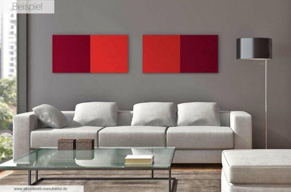 Schallschlucker Absorberbilder Beispiel Hot Red und Bordeaux, erhältlich im Akustikbilder Shop der Akustikbild-Manufaktur