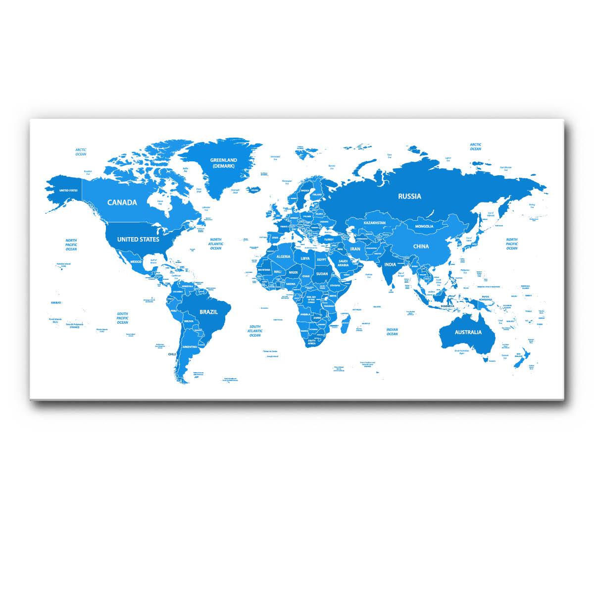Politische Weltkarte nach Ländern in Blau