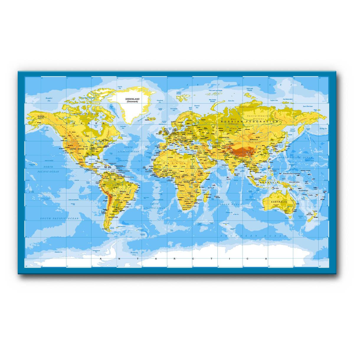Schallschutzbild Akustikbild Weltkarte