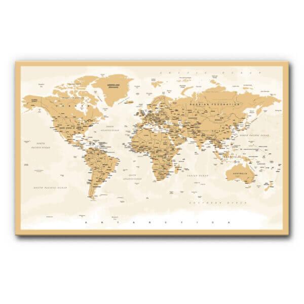 Schallschutzbild (Akustikbild) mit Weltkarte in Hellbraun