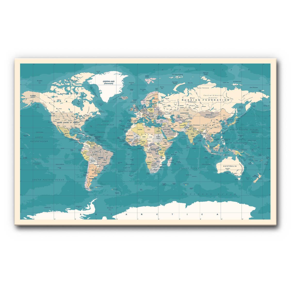 Schallschutzbild (Akustikbild) mit Weltkarte (petrol)