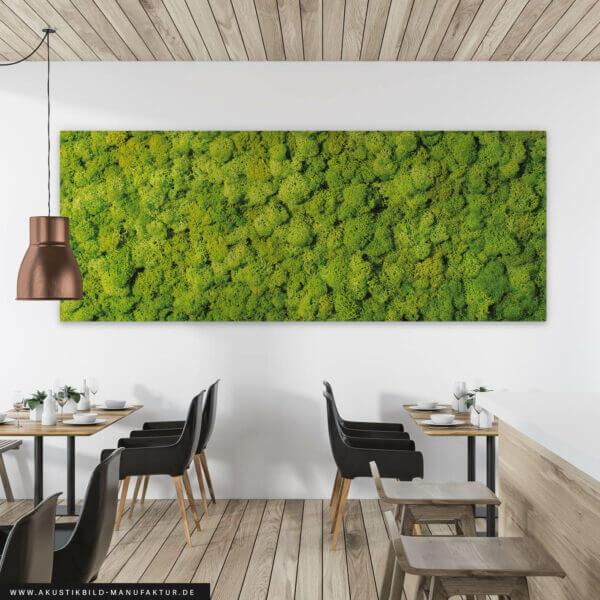 Schallabsorbierendes Wandbild mit Moos (Moosbild) OHNE echtes Moos sondern mit Fotodruck - Einsatz: Im Restaurant
