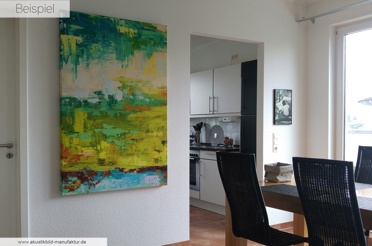 Akustikbild mit abstrakter Kunst, rahmenlos im Sonderformat 150 x 100 cm