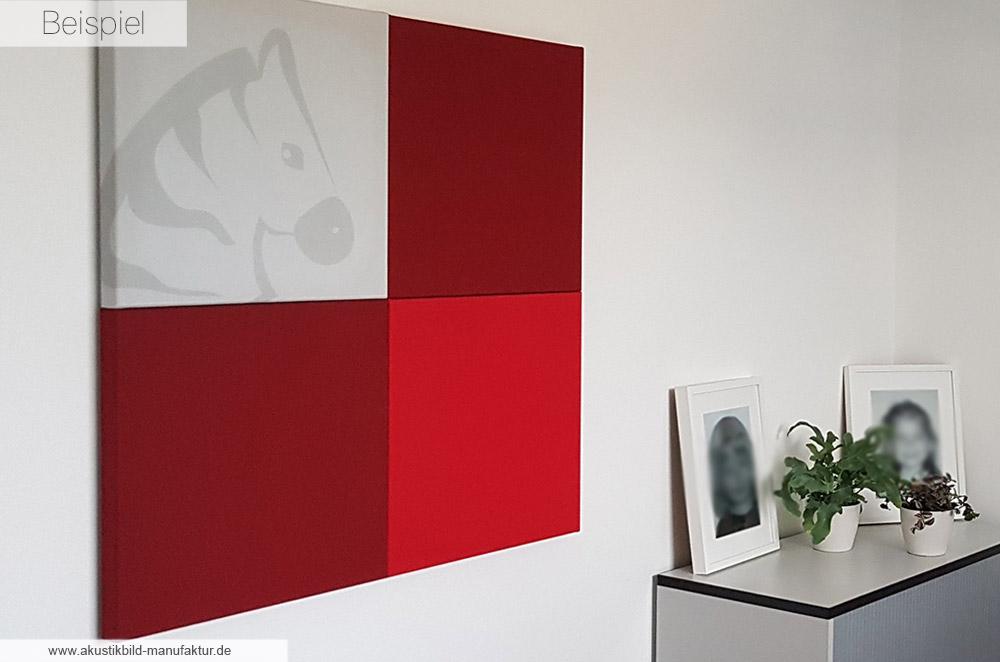 Akustikbild mit Logodruck Zebra in Kombination mit Hot Red und Ziegelrot