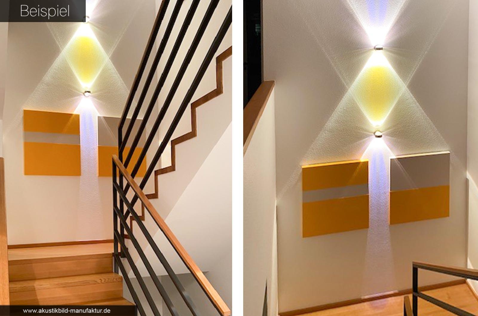 Einfarbige Schallabsorber Elemente im Treppenaufgang