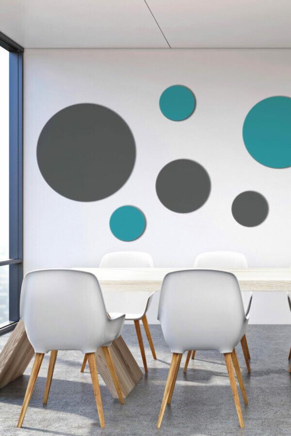 Runde Schallabsorber (Akustikkreise, runde Akustikbilder) in Blau und Anthrazit