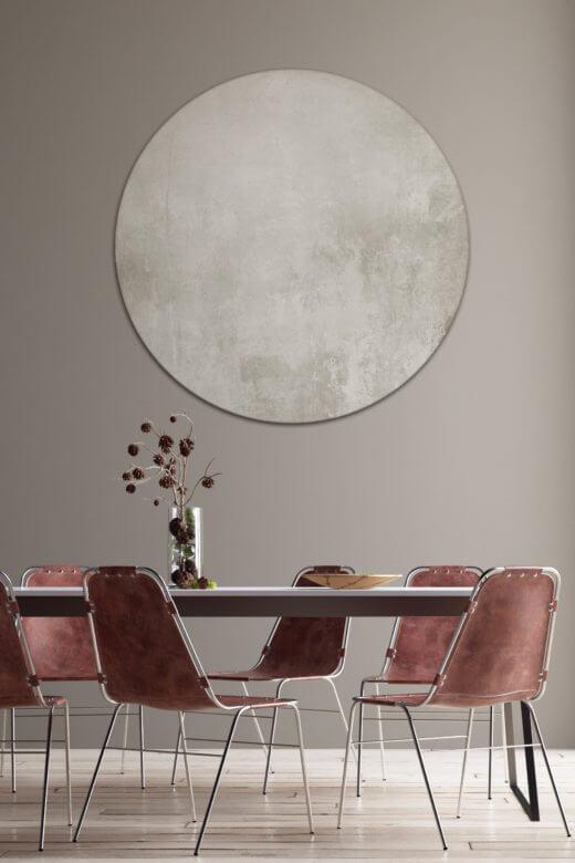 Rundes Akustikbild mit Motivdruck in Silber
