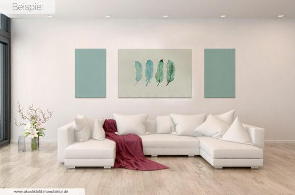 Akustikbild Federn kombiniert mit einfarbigen Akustikpaneelen der Farbe Pool