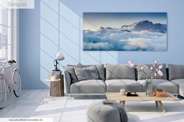Akustikbild Wolken im Sonderformat 200 x 90 cm
