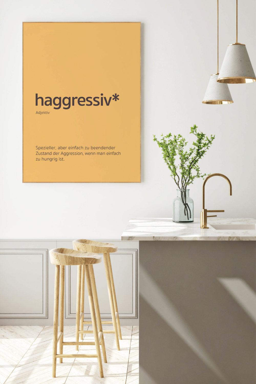 Akustikbild mit Holzrahmen, Motiv haggressiv