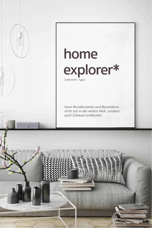 Akustikbild mit Spruch Home Explorer