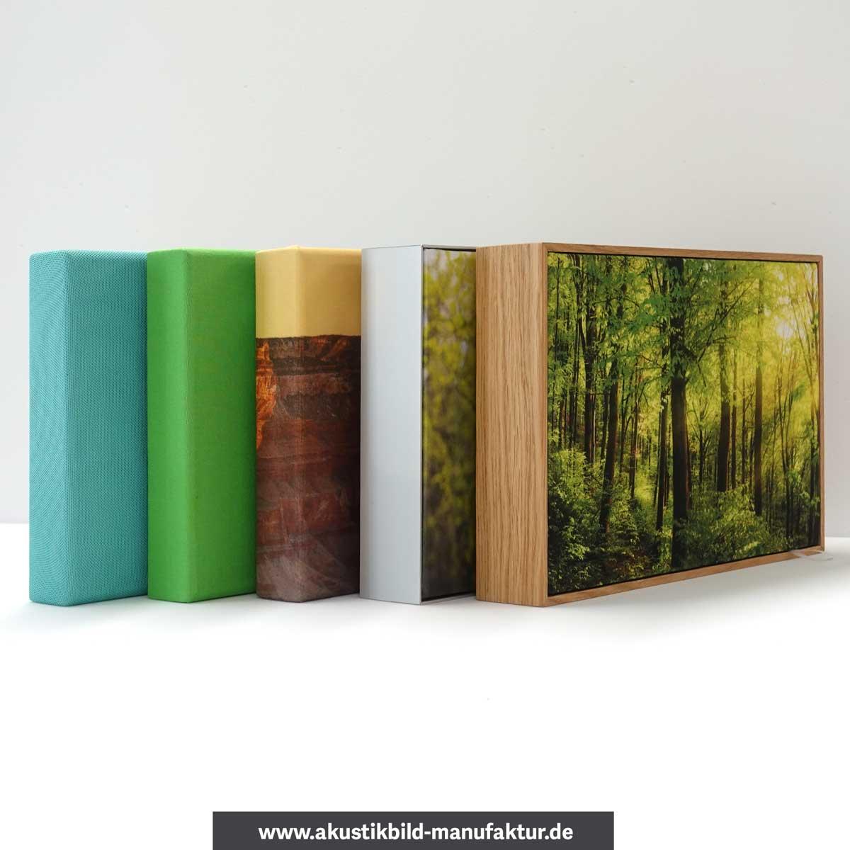 Akustikbilder Holzrahmen, Aluminiumrahmen, rahmenlos