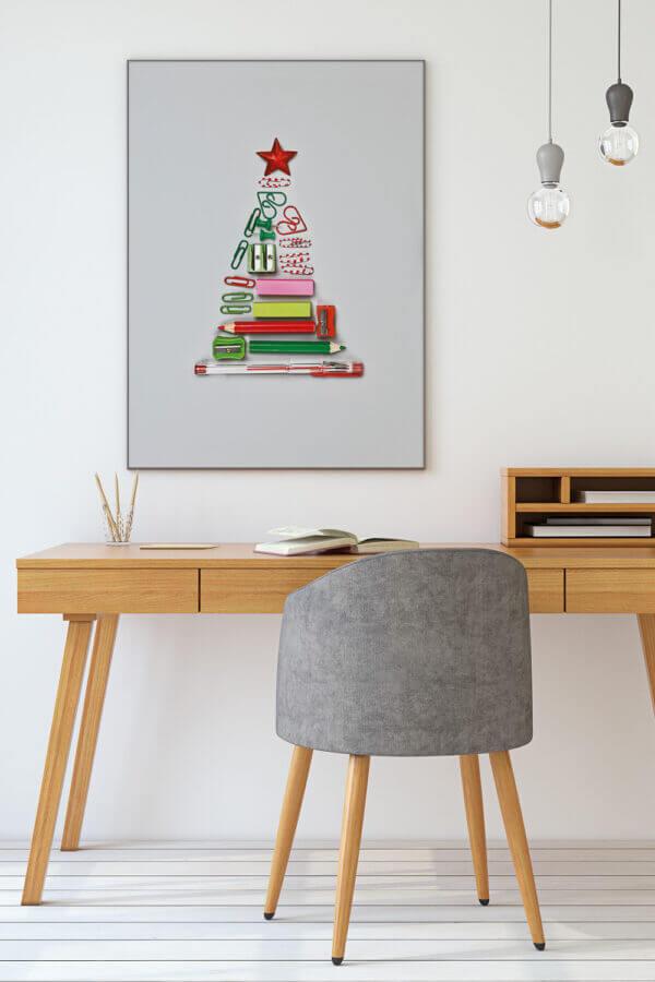 Weihnachtsdeko Büro mit Akustikbild Christbaum 2
