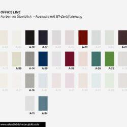 B1 Farbüberblick Akustikstoffe Office Line für runde Absorber Decke, Deckensegel oder Akustikbilder