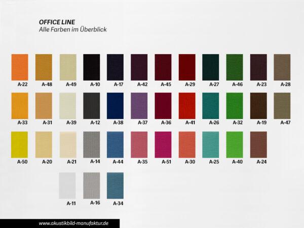 Farbüberblick Akustikstoffe Office Line für runde Absorber Decke, Deckensegel oder Akustikbilder
