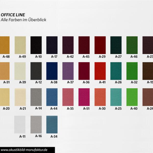 Farbüberblick Akustikstoffe Office Line
