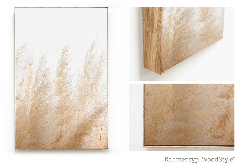 Akustikbild im WoodStyle mit Echtholzrahmen in Eiche, Beispiel Motiv Pampasgras
