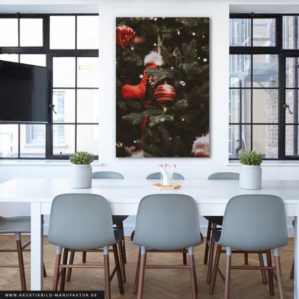 Weihnachtsdeko Büro mit Schallschutzbild Christbaum