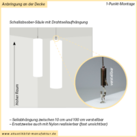 Zylinder Akustiksäule mit Seilabhängung senkrecht