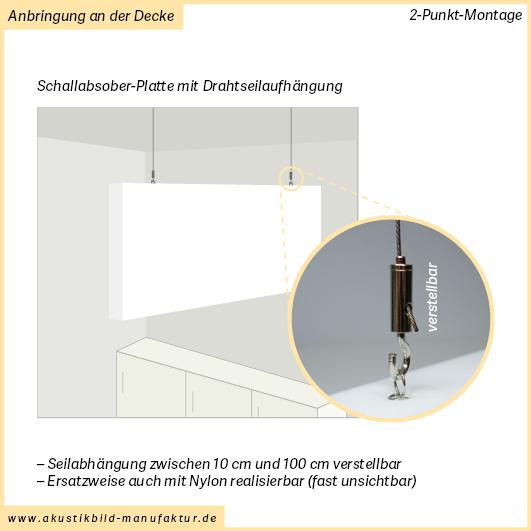 Rechteckige Schallabsorberplatten mit Seilabhängung