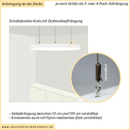 Runde Schallabsorberplatten mit Seilabhängung