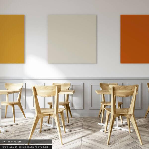 Einfarbige Akustikbilder zur Verbesserung der Raumakustik in Pausenräumen