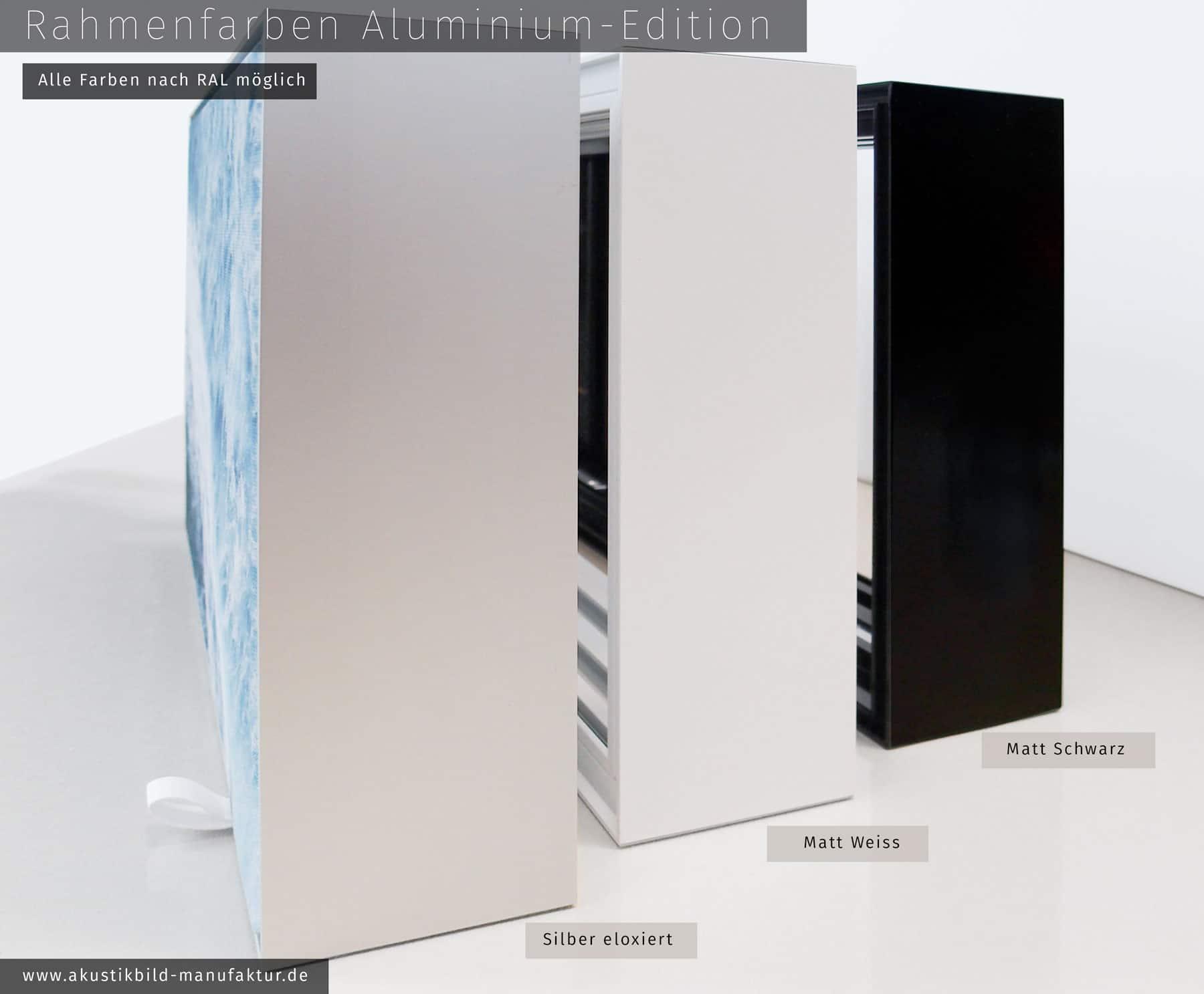 Raumakustik verbessern mit Absorberbildern in Aluminium-Rahmen farbig lackiert
