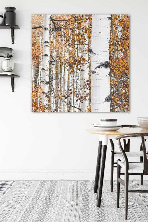 Textilwechselrahmen Akustikbild Goldener Birkenwald