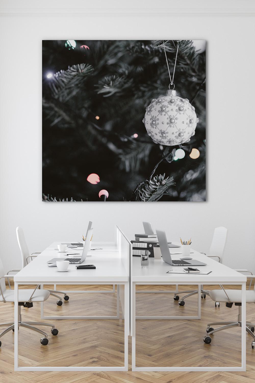 Weihnachtsdeko im Büro mit Akustikbild Weihnachtszauber