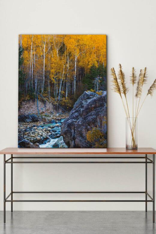 Herbstdeko mit Textilwechselrahmen und Akustikbild Die goldene Zeit