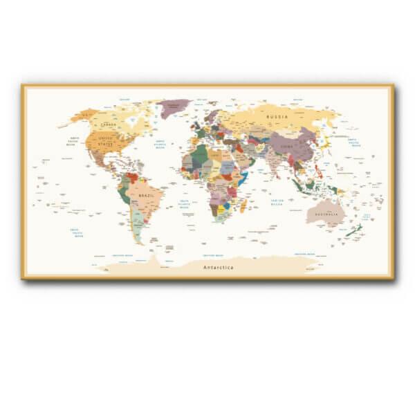 Schallschutz (Akustikbild) Weltkarte nach Ländern (braun)