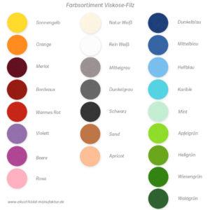 Farbsortiment in Filz für runde Absorberelemente zur Wand- oder Deckenmontage