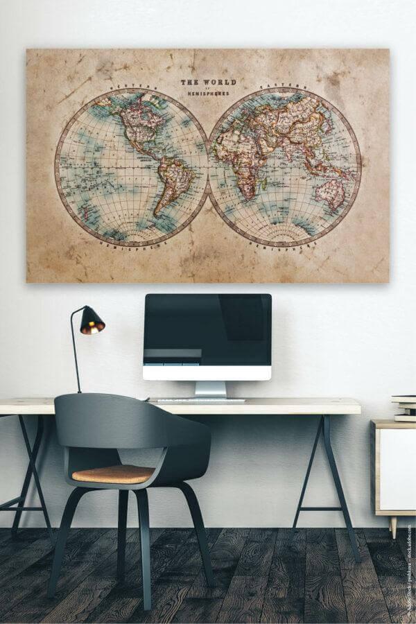 Akustikbild mit Weltkarte